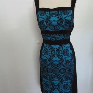 Andrew Marc Turquoise Black Dress Size 8